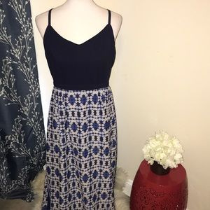 J. Crew Sleeveless Maxi Dress with Printed Skirt